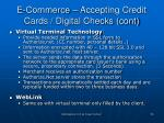 e commerce accepting credit cards digital checks cont