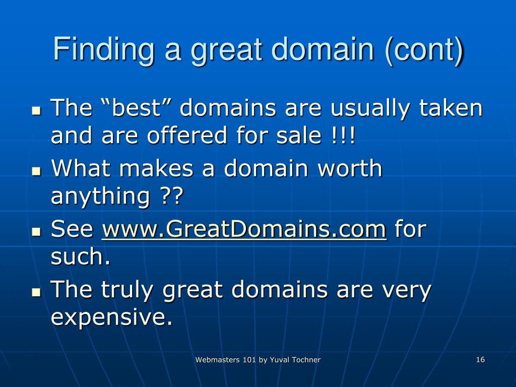 Finding a great domain (cont)