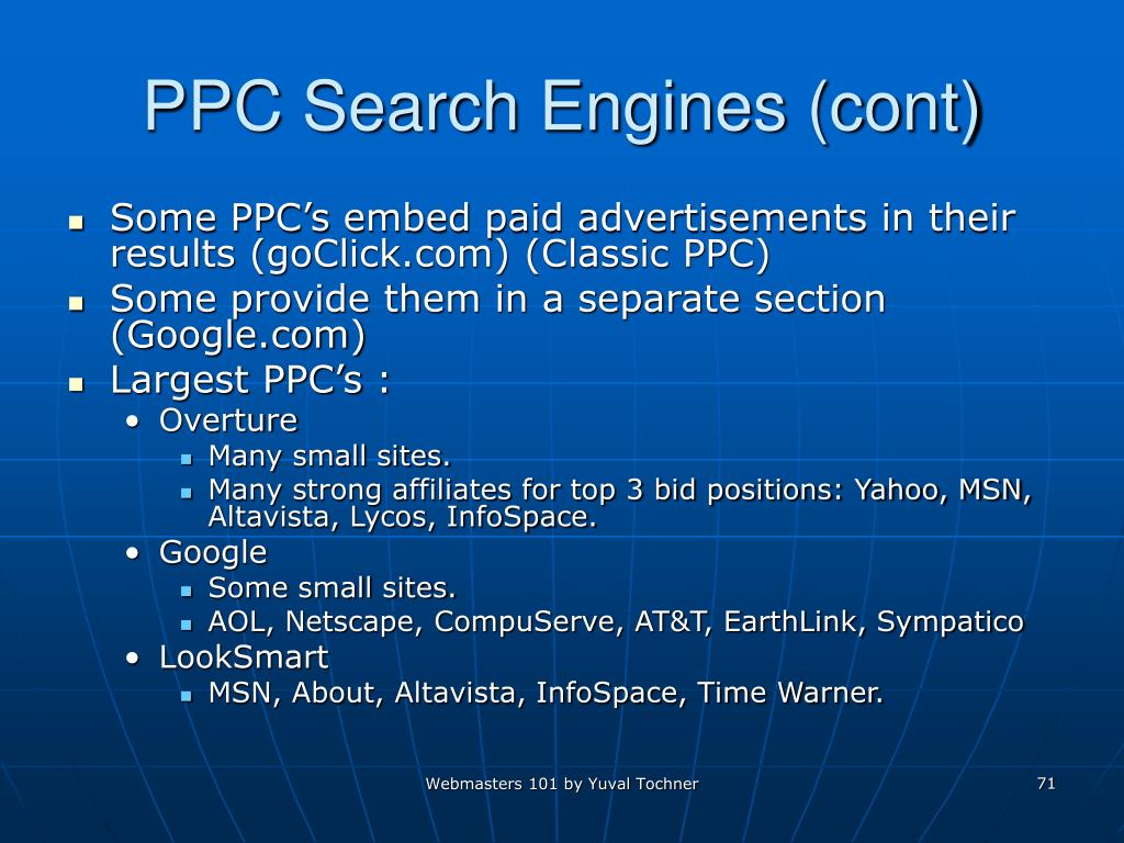 PPC Search Engines (cont)
