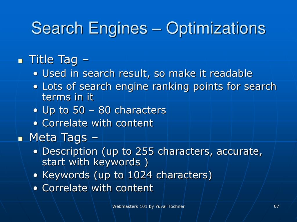 Search Engines – Optimizations