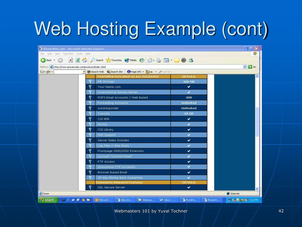 Web Hosting Example (cont)