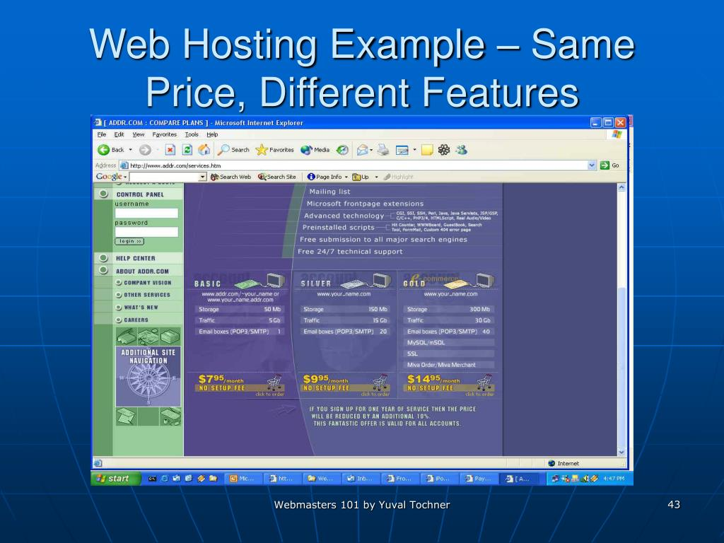 Web Hosting Example – Same Price, Different Features