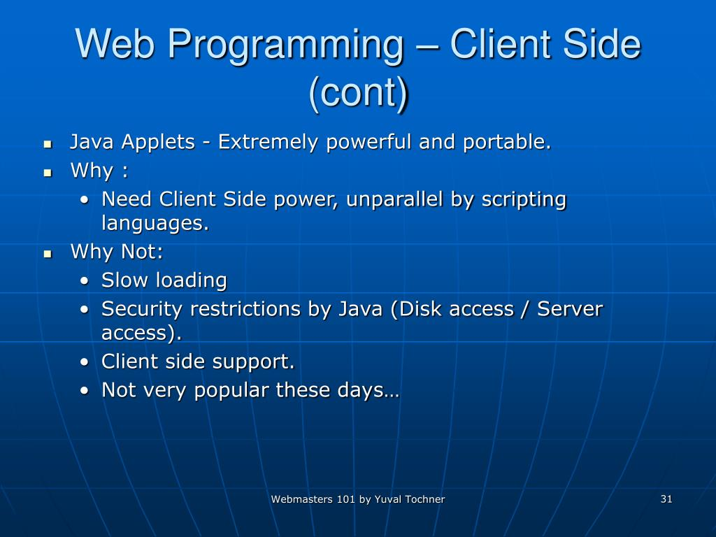 Web Programming – Client Side (cont)