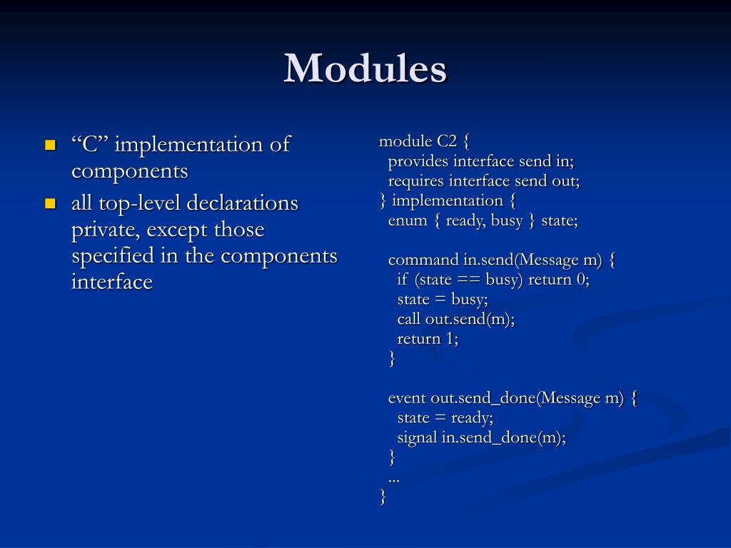 """""""C"""" implementation of components"""