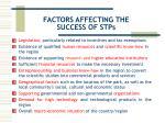 factors affecting the success of stps