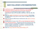 main challenges recommendations