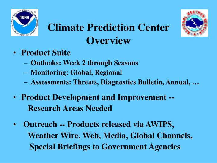 Climate prediction center overview