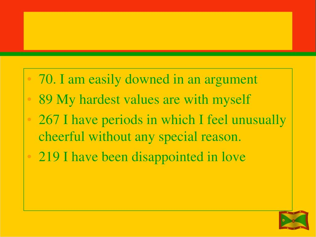 70. I am easily downed in an argument
