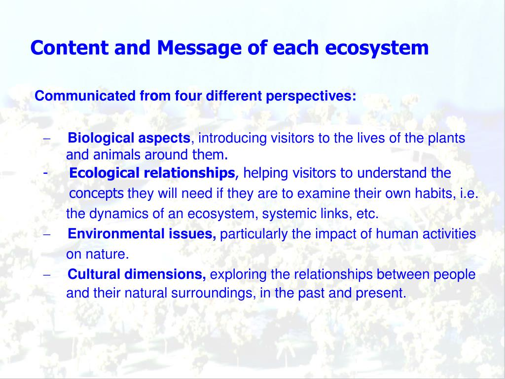 Content and Message of each ecosystem
