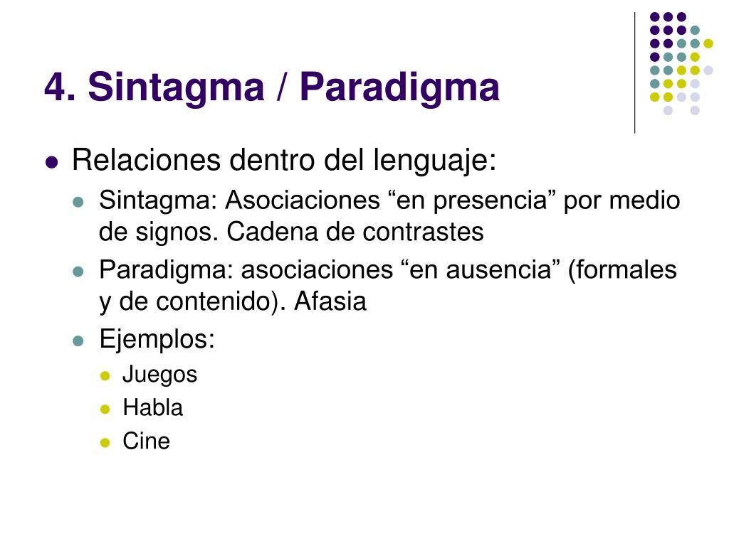 4. Sintagma / Paradigma