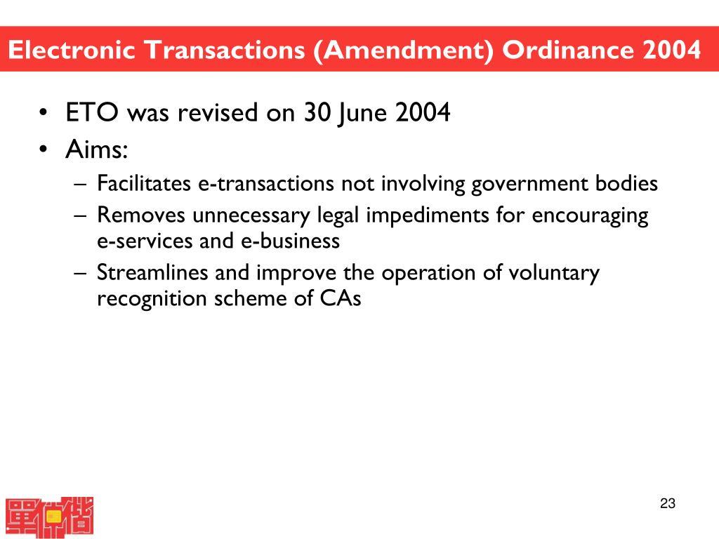 Electronic Transactions (Amendment) Ordinance 2004