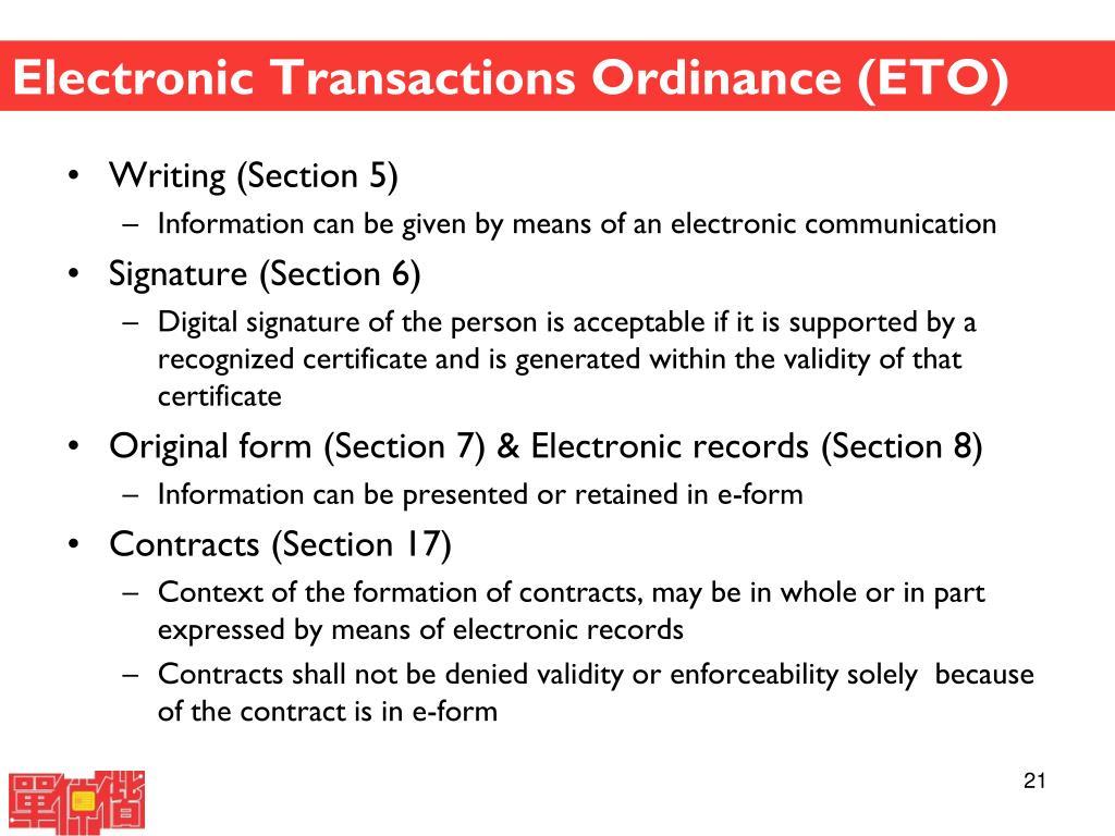 Electronic Transactions Ordinance (ETO)