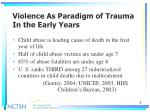 violence as paradigm of trauma in the early years