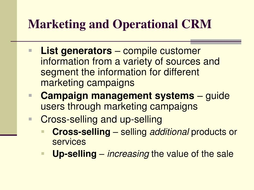 Marketing and Operational CRM