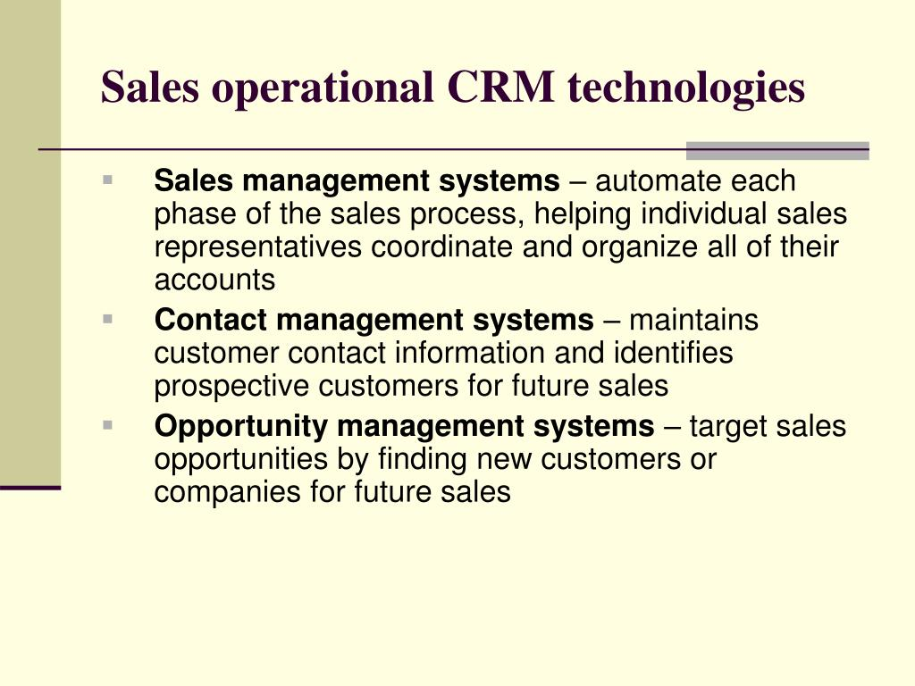 Sales operational CRM technologies