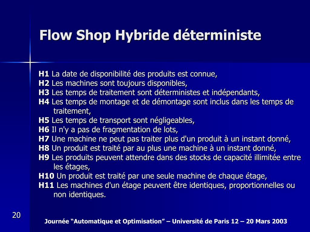 Flow Shop Hybride déterministe