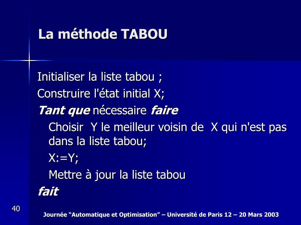 La méthode TABOU