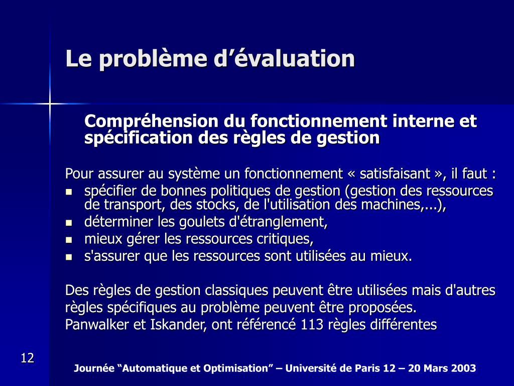 Le problème d'évaluation