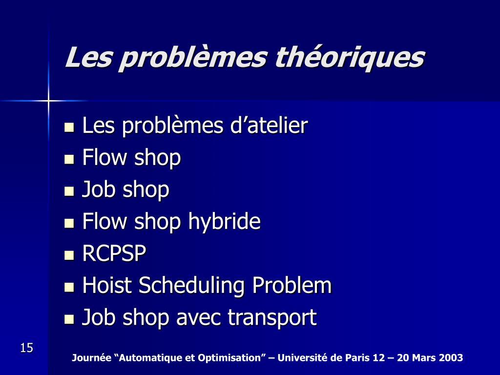 Les problèmes théoriques