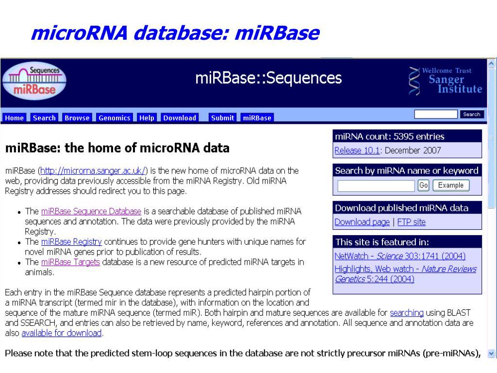 microRNA database: miRBase