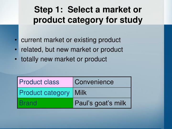 Step 1:  Select a market or product category for study