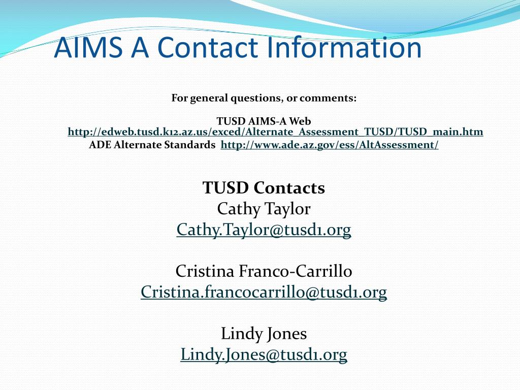 AIMS A Contact Information