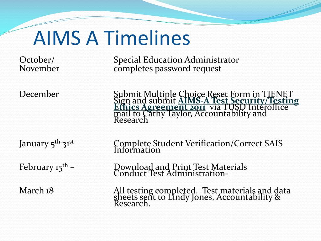 AIMS A Timelines