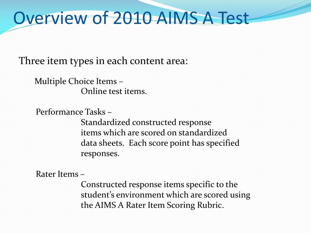 Overview of 2010 AIMS A Test