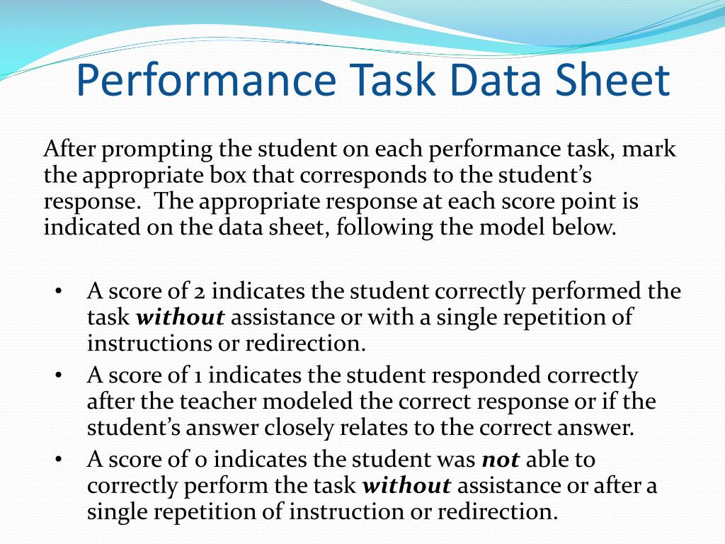 Performance Task Data Sheet