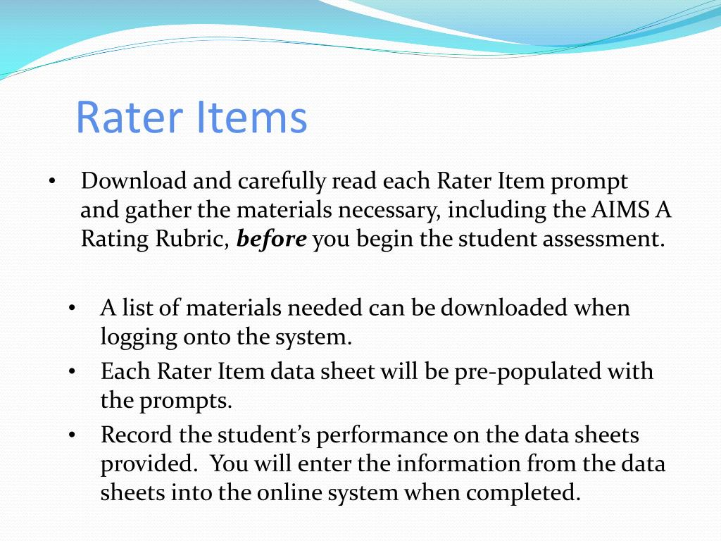 Rater Items
