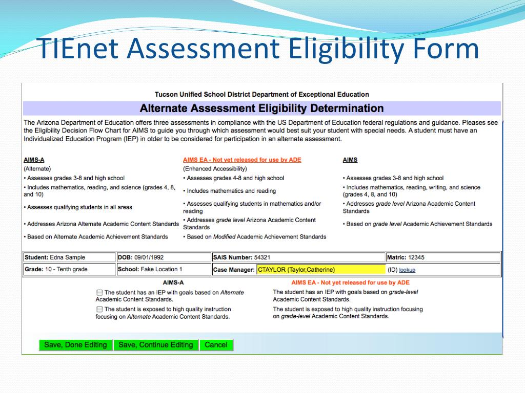 TIEnet Assessment Eligibility Form