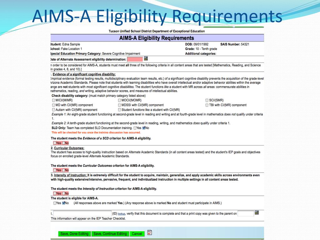 AIMS-A Eligibility Requirements
