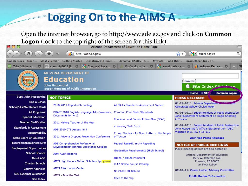Logging On to the AIMS A