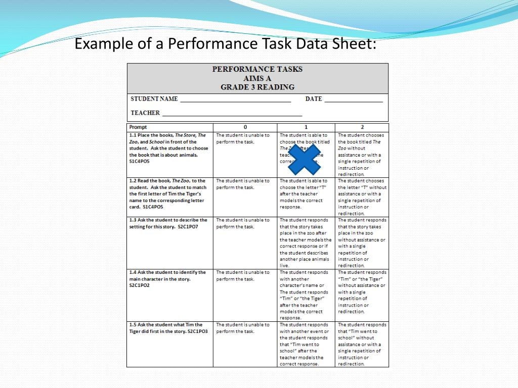 Example of a Performance Task Data Sheet: