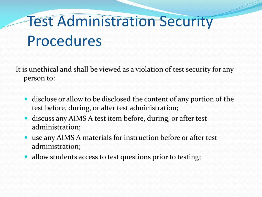 Test Administration Security Procedures
