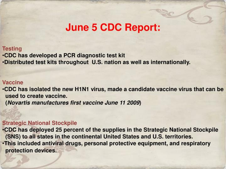 June 5 CDC Report:
