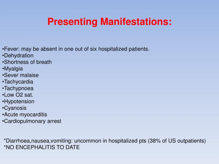 Presenting Manifestations: