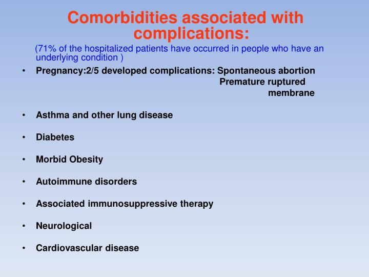 Comorbidities associated with complications: