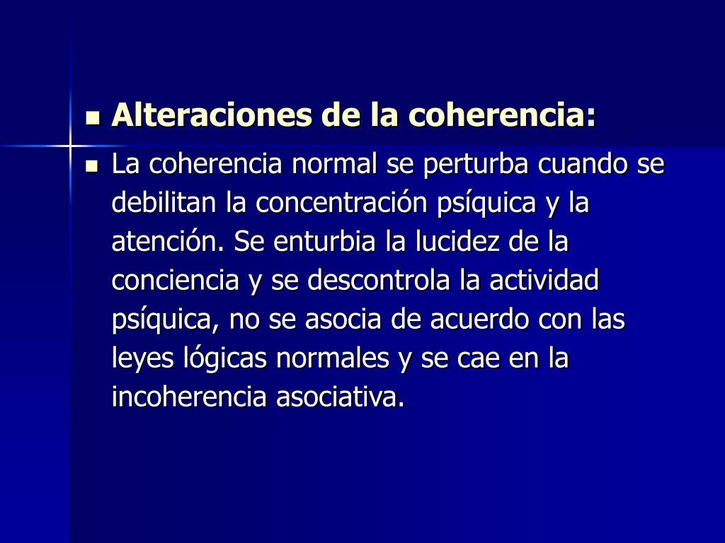 Alteraciones de la coherencia