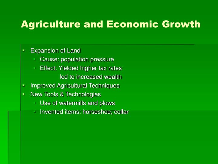 Agriculture and economic growth