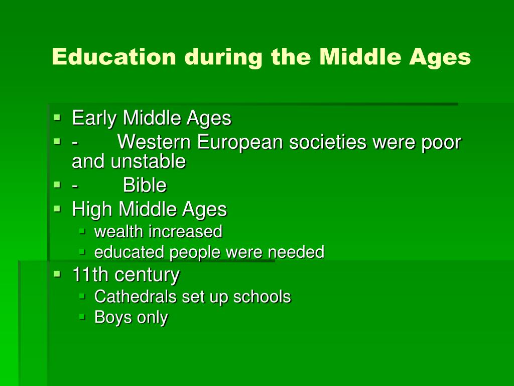 Education during the Middle Ages