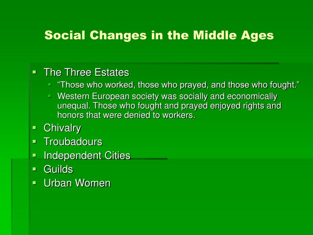 Social Changes in the Middle Ages