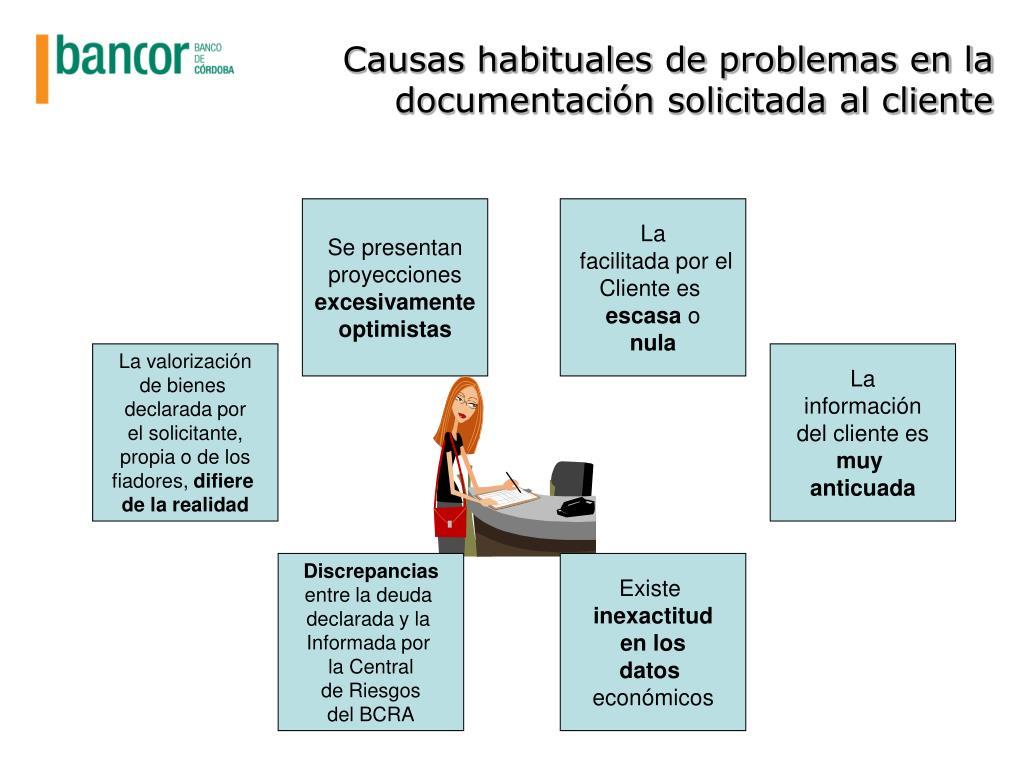 Causas habituales de problemas en la documentación solicitada al cliente