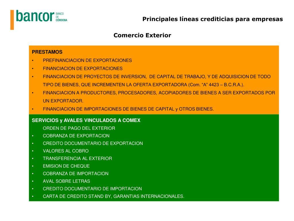 Principales líneas crediticias para empresas