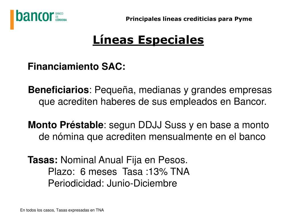 Principales líneas crediticias para Pyme