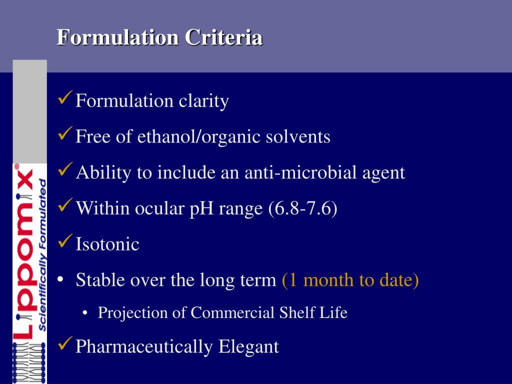 Formulation Criteria