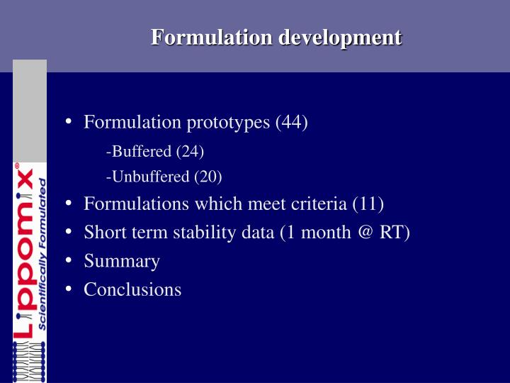 Formulation development
