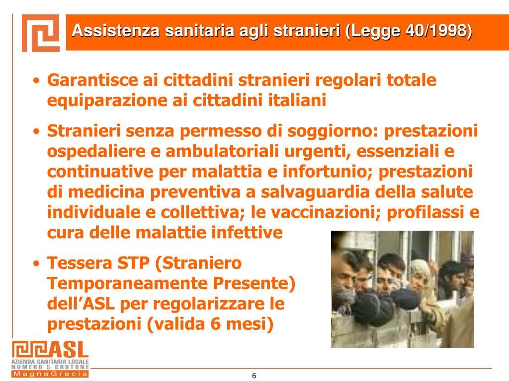 Assistenza sanitaria agli stranieri (Legge 40/1998)