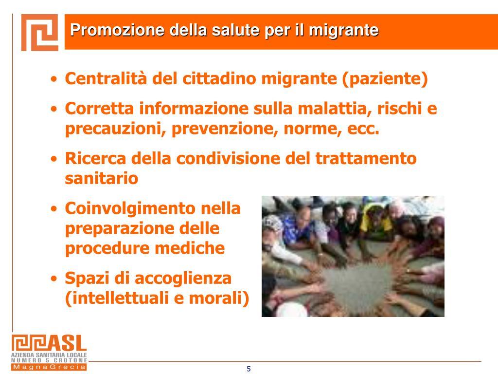 Promozione della salute per il migrante