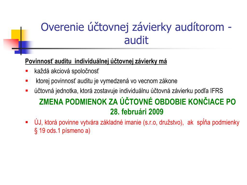 Overenie účtovnej závierky audítorom - audit